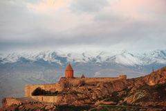 Ancient monastery in front of mountain. Ancient monastery Khor Virap in Armenia with Ararat mountain at background. Was founded in years 642-1662 Royalty Free Stock Images