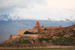 Ancient monastery in front of mountain. Ancient monastery Khor Virap in Armenia with Ararat mountain at background. Was founded in years 642-1662 Stock Image