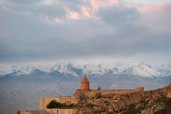 Ancient monastery in front of mountain. Ancient monastery Khor Virap in Armenia with Ararat mountain at background. Was founded in years 642-1662 Stock Photos