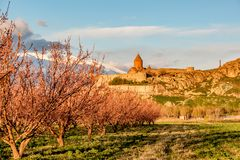 Ancient monastery in front of mountain Royalty Free Stock Photo