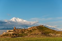 Ancient monastery in front of mountain. Ancient monastery Khor Virap in Armenia with Ararat mountain at background. Was founded in years 642-1662 Stock Images