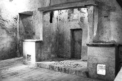 Ancient monastery kitchens. Black and white photo Royalty Free Stock Image