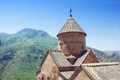 Ancient Monastery Noravank built of natural stone tuff. The city of Yeghegnadzor, Armenia. Landscape view of the mountains royalty free stock photography