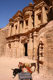 Ancient monastery in rock city Petra Stock Photography
