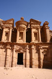 Ancient monastery of rock city Petra in Jordan Stock Photos