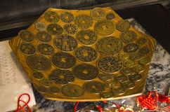 Ancient money. Hoi An old house, Vietnamese tradition inherited house come to life for a day of tourism. Collection of ancient money Stock Photo