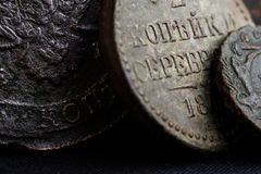 Ancient Money Of The 18th Century In Russia Close-up Of Coins, Symbols Of The Russian Empire Royalty Free Stock Photo