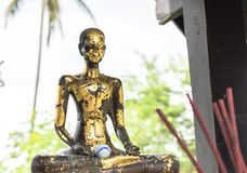 Ancient monk sculpture. In thai  old temple Stock Photography