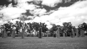 Ancient Monoliths Structure Black And White. A black and white image of monoliths structure similar to Stonehenge. These stones are located at Glen Innes in New stock photo