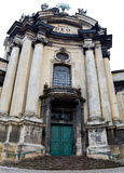 Ancient monument - facade of medieval church in Lviv Ukraine Royalty Free Stock Photo