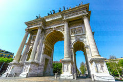 The ancient monument gate in eurpoe. The ancient monument gate is landmark in eurpoe Royalty Free Stock Photo