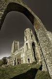 Ancient monument. Historic Wymondham abbey via the church arch r royalty free stock photo