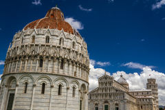 Ancient monuments of Pisa against the blue sky Royalty Free Stock Photos