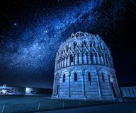 Ancient monuments in Pisa at night. Europe stock photography