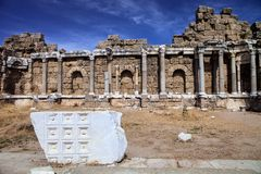 Ancient monuments in Side, Turkey Stock Image