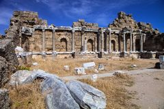 Ancient monuments in Side, Turkey Stock Images
