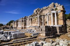 Ancient monuments in Side, Turkey Stock Photos