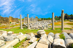 Ancient monuments Tyche temple of Roman Empire, Side, Turkey  Royalty Free Stock Photography