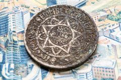 Ancient Moroccan coin. Ancient banknotes of the Kingdom of Morocco 100 mad and 50mad, dirham of Morocco stock image