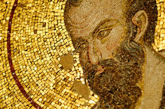 Ancient mosaic. Detail of a Byzantine golden mosaic in Chora Church, Istanbul, Turkey royalty free stock photos