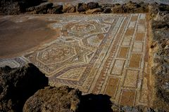 Archaeological site. Ancient mosaic on an archaeological site Royalty Free Stock Photography