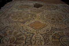 Archaeological site. Ancient mosaic on an archaeological site Stock Image