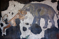 Ancient mosaic from the Byzantine period. Elefant and tiger - mosaic from the Byzantine period in the Great Palace Mosaic Museum in Istanbul, Turkey. Great Royalty Free Stock Photo