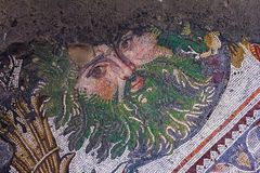 Ancient mosaic from the Byzantine period in the Great Palace Mosaic Museum in Istanbul. Turkey Stock Image
