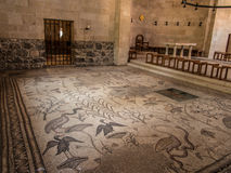 Ancient mosaic. Church of the Multiplication of the Loaves and t. He Fishes, Tabgha, Israel Royalty Free Stock Photos