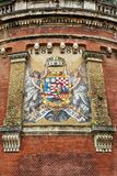 Ancient mosaic coat of arms of Kingdom of Hungary in Budapest. Ancient mosaic, coat of arms of Kingdom of Hungary in Budapest stock images