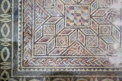 Ancient mosaic floor. Fragment of an ancient mosaic floor. Paphos, Cyprus Royalty Free Stock Photos