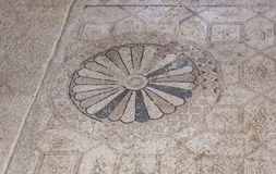 Ancient Mosaic Floor in the Susya Synagogue in the West Bank royalty free stock photos