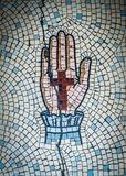 Ancient Mosaic Of Hand And Cross Stock Images
