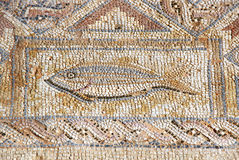Ancient mosaic in Kourion, Cyprus. The fragment of ancient mosaic in Kourion, Cyprus Royalty Free Stock Image