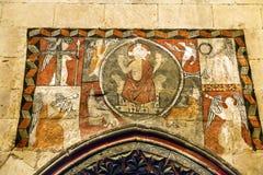 Ancient Mosaic Old Salamanca Cathedral Spain Stock Images