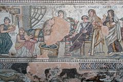 Ancient mosaic. In Paphos Archaeological Park. Cyprus Stock Photography