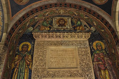 Ancient Mosaic of Stavropoleos Monastery. Ancient mosaic of Jesus Christ, Saint Agata and Saint Alexie and stucco of Holy Scripture in Stavropoleos Monastery in Royalty Free Stock Image