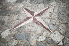Ancient mosaic stone wind rose pattern Royalty Free Stock Image