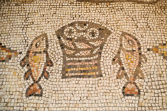 Ancient mosaic of Tabgha Stock Photography
