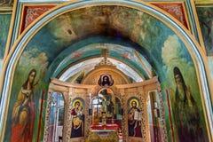 Ancient Mosaics Icons Rectory Saint Michael Vydubytsky Monastery Kiev Ukraine. Ancient Mosaics Icons Screen Rectory Saint Michael Vydubytsky Monastery Kiev Stock Photo