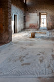 Ancient mosaics and interior of a house at Pompeii  Stock Images
