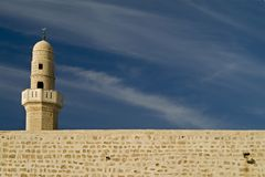 Ancient mosque. 's minaret and wall of Sidney Alli, Israel Stock Photos