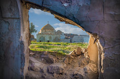 Ancient Mosque inside framed wall Stock Images