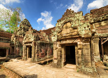 Ancient mossy buildings with carving of Preah Khan temple Royalty Free Stock Image