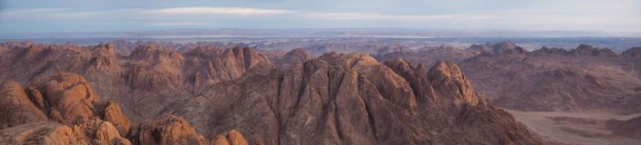Ancient mountains of Sinai desert. Later afternoon light on a remote sandy desert stock photo