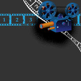 Ancient movie camera. Colorful illustration with numbered filmstrips and ancient movie camera Royalty Free Stock Image