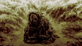 Ancient mummy of monk. In rags sits in lotus position in mountains. Animation in genre of fantasy vector illustration