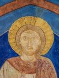 Ancient ultramarine mural of Jesus Christ Stock Photos