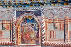 Mural Fresco in Romania. Ancient mural painted fresco inside a Monastery, Romania stock image