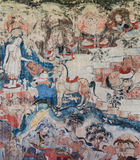 Ancient mural painting of the life of Buddha Royalty Free Stock Photo